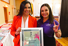 SISD Partners in Education celebration attendees holding certificate