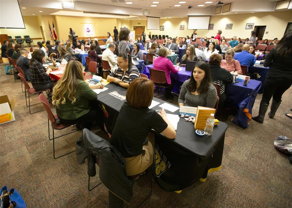 SISD job fair room with attendees