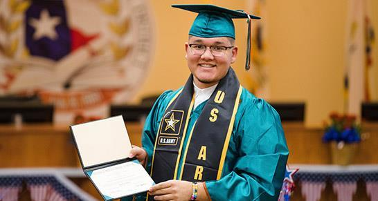 SISD student graduate joining Military receiving diploma