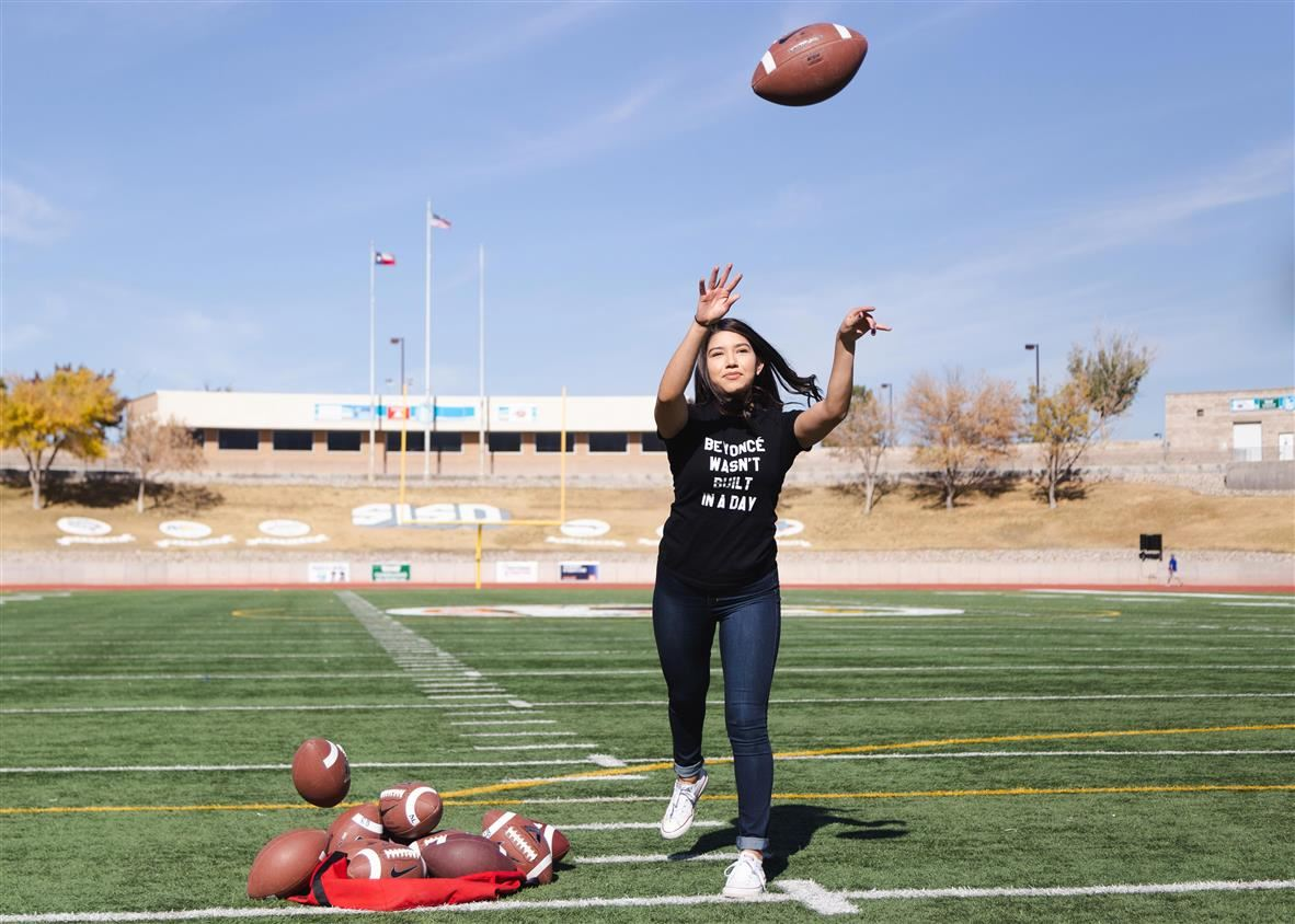 Jordan Alarcon practicing football throw