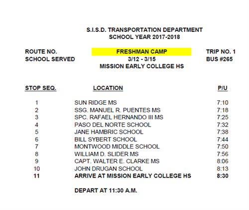 Freshman Camp Bus Route