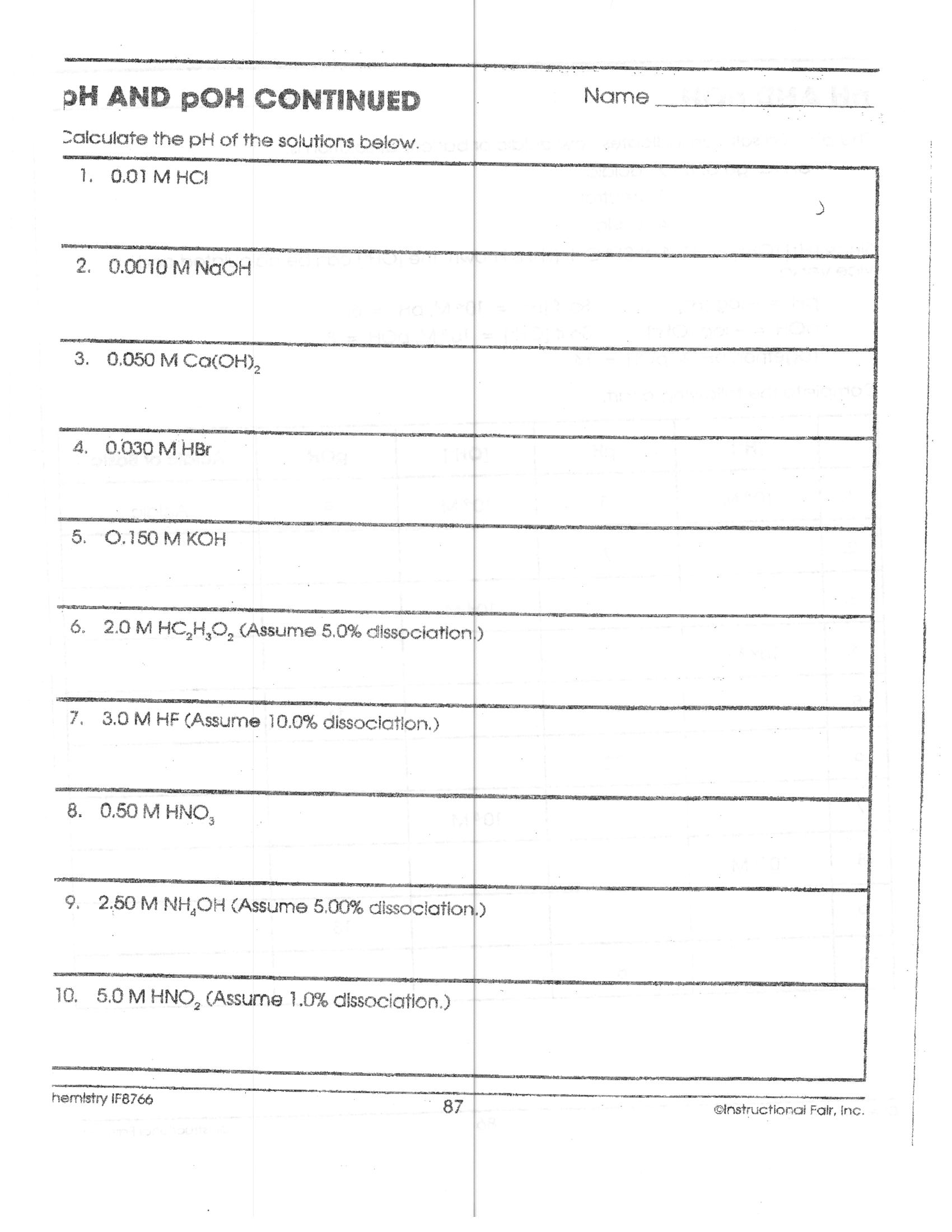 Printables Ph Poh Russian Answer Work Sheet Joomsimple – Acid and Bases Worksheet Answer Key