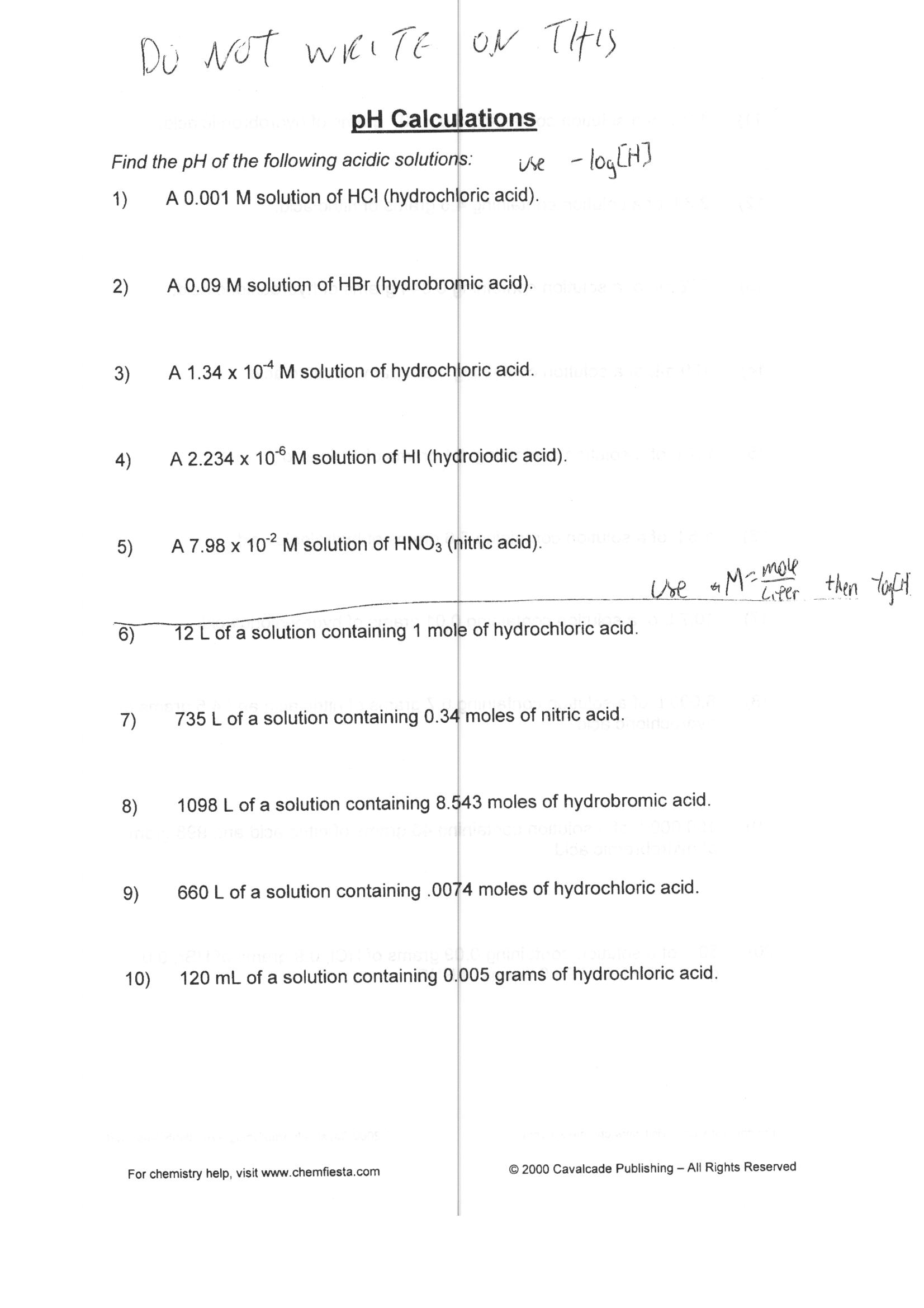 Calculating Ph And Poh Worksheet