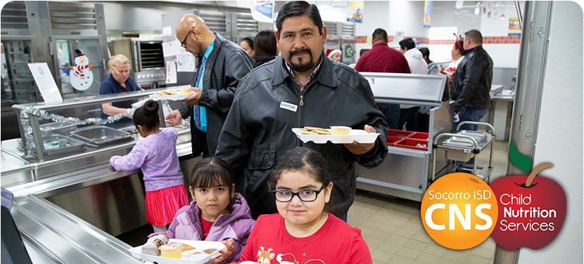 SISD elementary students grabbing breakfast with parents