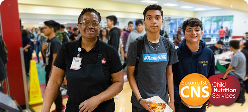 High School Students being served lunch by SISD CNS staff