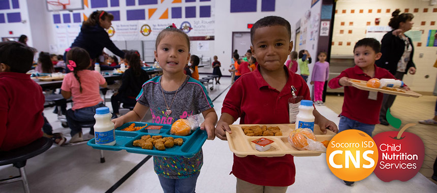 SISD elementary students enjoying lunch