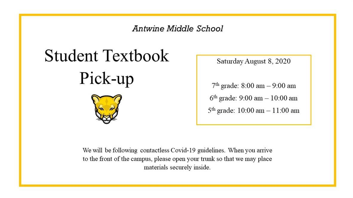 textbook pick up saturday aug 8