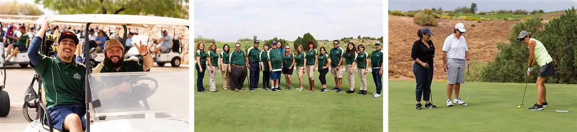 Images of participants at the golf tournament