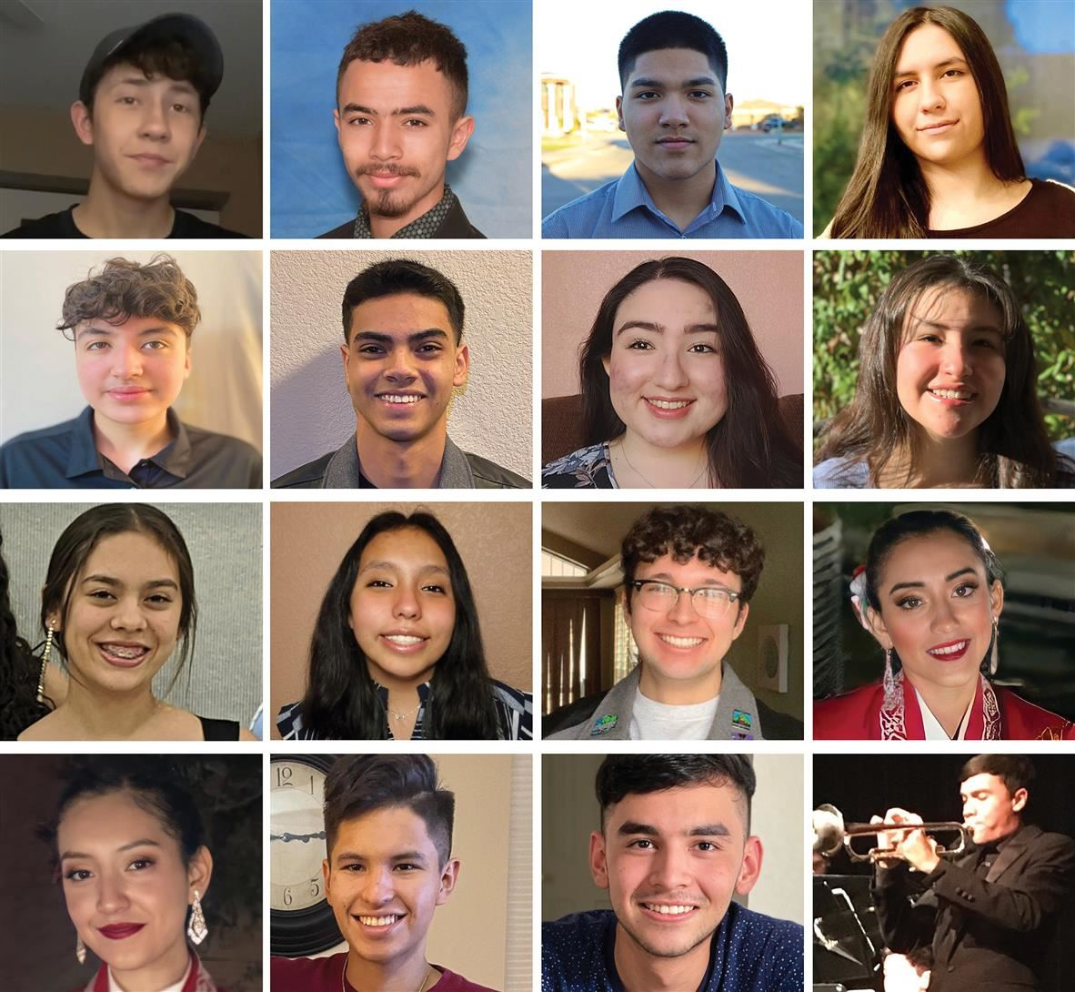 Portraits of the 16 SISD music students that earned the prestigious All-State honors
