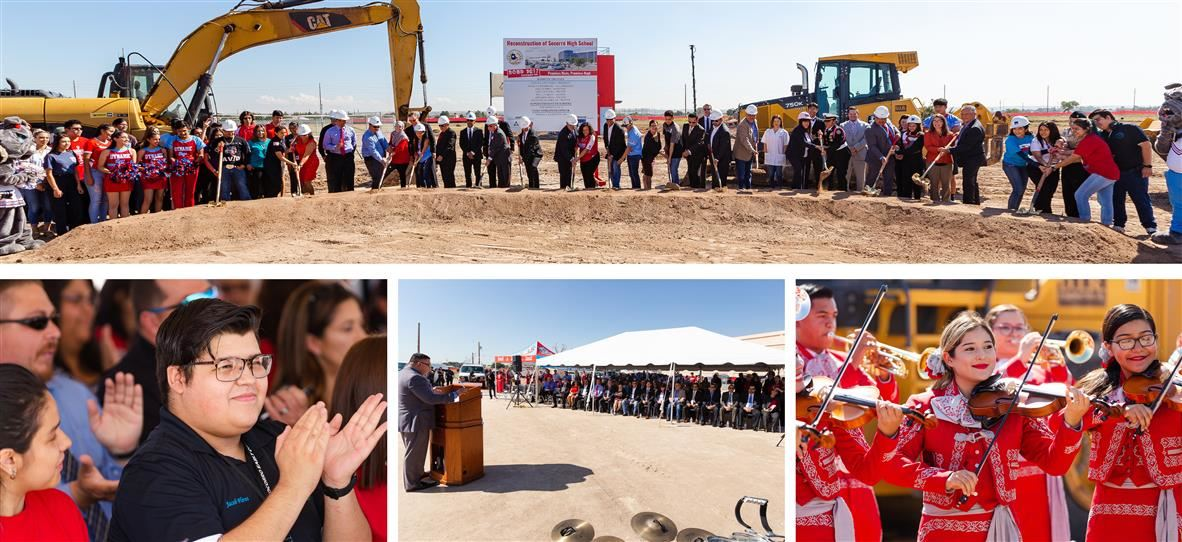 Images of students, community and staff participating in groundbreaking