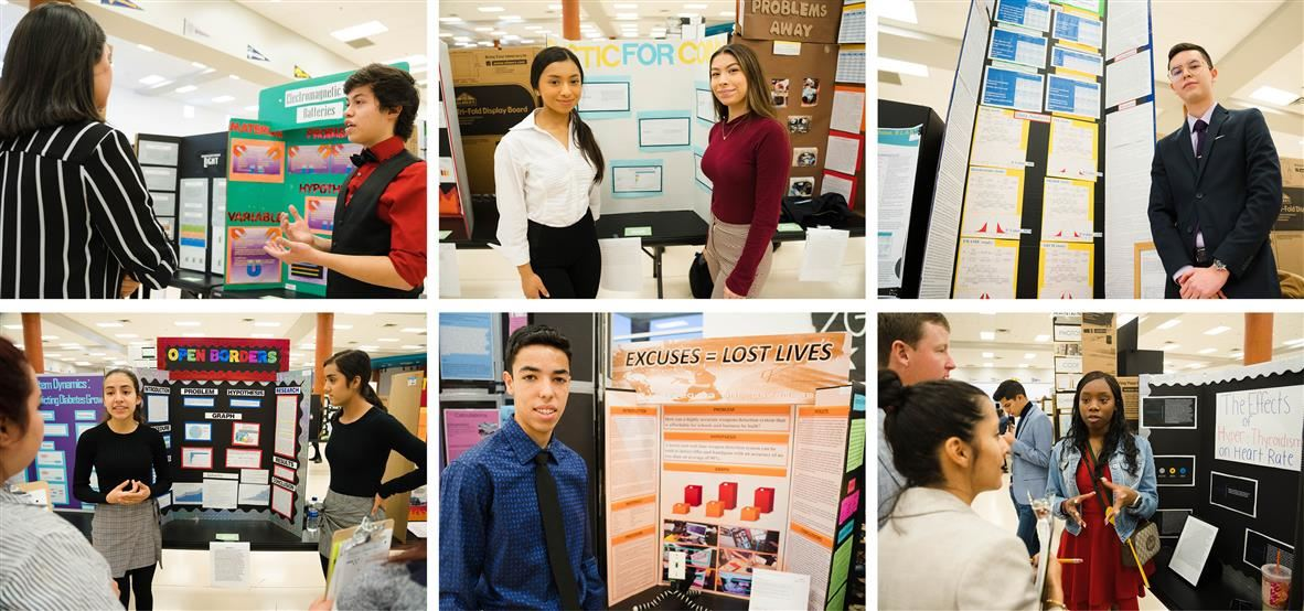 Images of students at science fair
