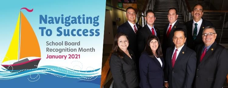 Navigating to Success January 2021 School Board Recognition Month, with group shot of SISD board members