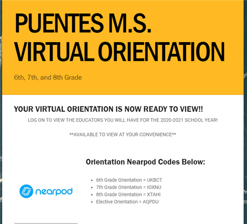 Puentes Virtual Orientation